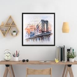 Framed 24 x 24 - Bridge sketch