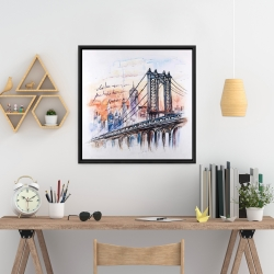 Framed 24 x 24 - Bridge sketch