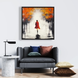 Framed 24 x 24 - Woman with a red coat by fall