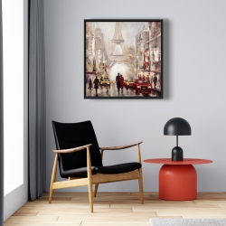 Framed 24 x 24 - Busy street of paris with eiffel tower