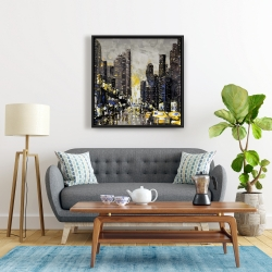 Framed 24 x 24 - Abstract and texturized city with yellow taxis