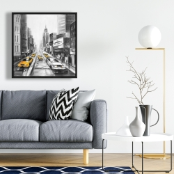 Framed 24 x 24 - Grayscale street with yellow cars