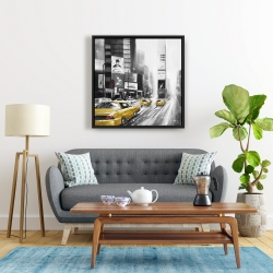 Framed 24 x 24 - Traffic of yellow cars in a gray city