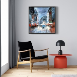 Framed 24 x 24 - Abstract red and blue city