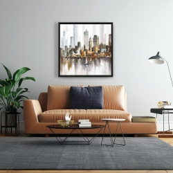 Framed 24 x 24 - Urban landscape and its sailboats