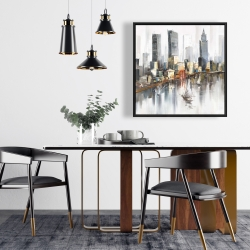 Framed 24 x 24 - Watercolor style city with boats