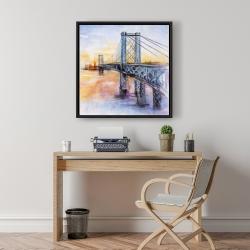 Framed 24 x 24 - Abstract brooklyn bridge