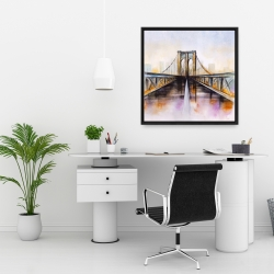 Framed 24 x 24 - Colorful brooklyn bridge