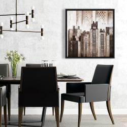Framed 24 x 24 - Square city