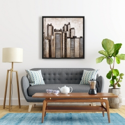Framed 24 x 24 - Striped skyscrapers
