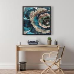 Framed 24 x 24 - Blue flower montage