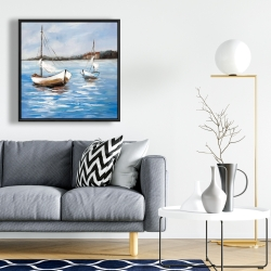 Framed 24 x 24 - Two boats on the water
