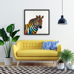 Framed 24 x 24 - Colorful profile view of a zebra