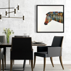 Framed 24 x 24 - Colorful zebra