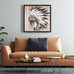 Framed 24 x 24 - Indian with feathers