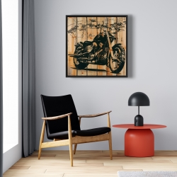 Framed 24 x 24 - Motorcycle on wood background
