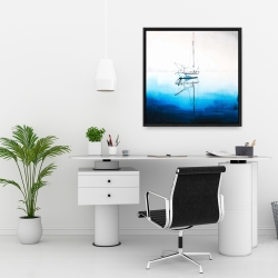 Framed 24 x 24 - White boat on a deep blue water