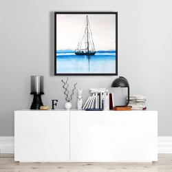 Framed 24 x 24 - Sailboat on a calm water