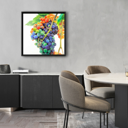 Framed 24 x 24 - Colorful bunch of grapes