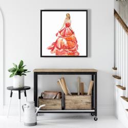 Framed 24 x 24 - Beautiful red prom dress