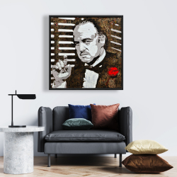Framed 24 x 24 - Black and white the godfather