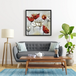 Framed 24 x 24 - Abstract red and white flowers