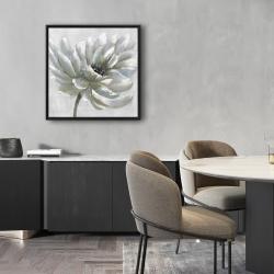 Framed 24 x 24 - White chrysanthemum