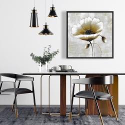 Framed 24 x 24 - Modern beige flower