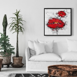Framed 24 x 24 - Texturized red poppies