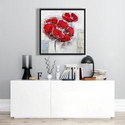 Framed 24 x 24 - Abstract and texturized red flowers