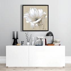 Framed 24 x 24 - White abstract wild flower