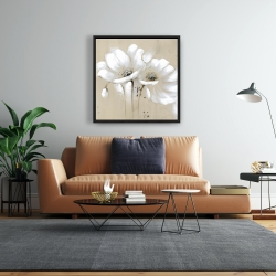 Framed 24 x 24 - White abstract wild flowers