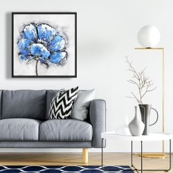 Framed 24 x 24 - Abstract blue petals