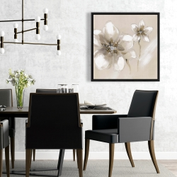 Framed 24 x 24 - Two cream flowers