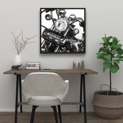 Framed 24 x 24 - Realistic motorcycle
