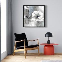 Framed 24 x 24 - Monochrome and silver flowers