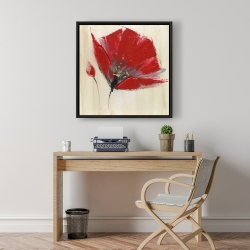 Framed 24 x 24 - Two red flowers