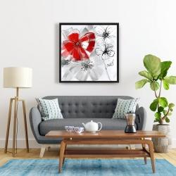 Framed 24 x 24 - Red & gray flowers