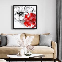 Framed 24 x 24 - Red & white flowers sketch