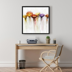 Framed 24 x 24 - Multiple colorful abstract flowers