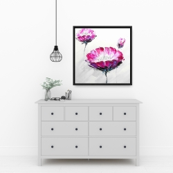 Framed 24 x 24 - Pink wild flowers