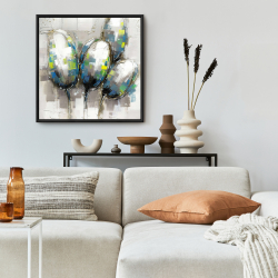 Framed 24 x 24 - Abstract blue tulips