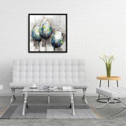 Framed 24 x 24 - Three abstract tulips