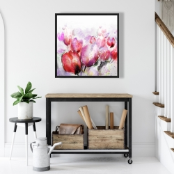 Framed 24 x 24 - Abstract blurry tulips