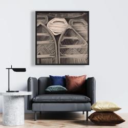 Framed 24 x 24 - Sepia canoes