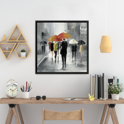 Framed 24 x 24 - Street scene with umbrellas