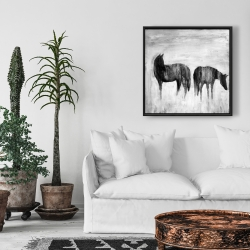 Framed 24 x 24 - Horses silhouettes in the mist