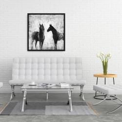 Framed 24 x 24 - Black and white horses