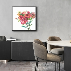 Framed 24 x 24 - Watercolor bouquet of flowers