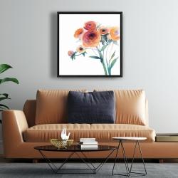 Framed 24 x 24 - Watercolor flowers